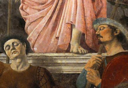 Piero della Francesca, Resurrezione (particolare; 1465) (Immagine dal web)