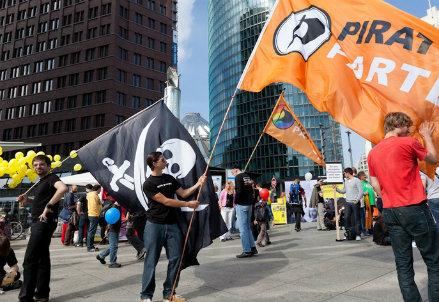 Una manifestazione del Partito dei pirati