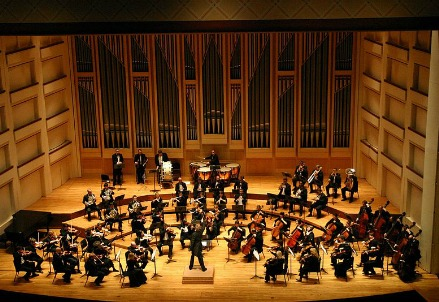 An orchestra performing