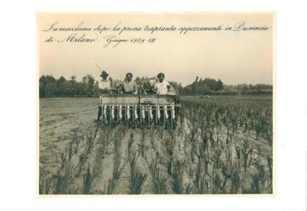 Trapiantatrice di riso premiata nel 1930 (Istituto Lombardo, Accademia di Scienze e Lettere)