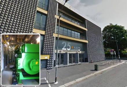 L'edificio dimostratore del Politecnico di Milano; nel riquadro il trigeneratore