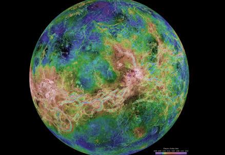Mappa della superficie di Venere ottenuta dalla sonda Magellan. Credit: NASA-JPL-USGS