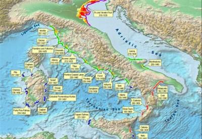 Le 33 piane costiere a rischio inondazione