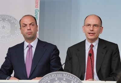 Angelino Alfano ed Enrico Letta (Infophoto)