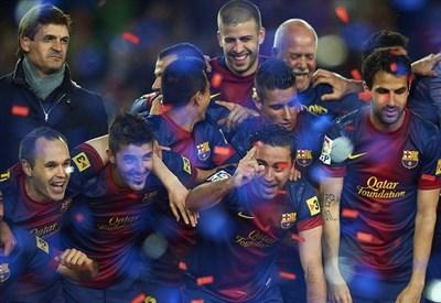 Il Barcellona festeggia la Liga 2013 (Infophoto)