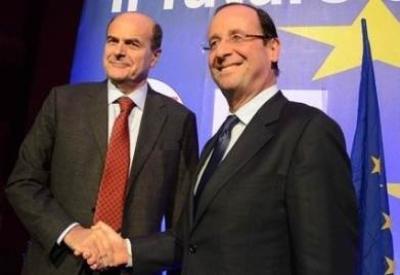 Bersani e Hollande (Infophoto)