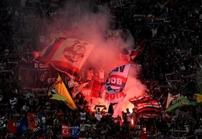 La curva del Bologna: il derby dell'Appennino è molto sentito (Infophoto)