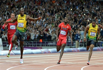 Usain Bolt winning the 100 meter  (Infophoto)