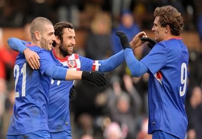 La Croazia esulta dopo un gol (Infophoto)