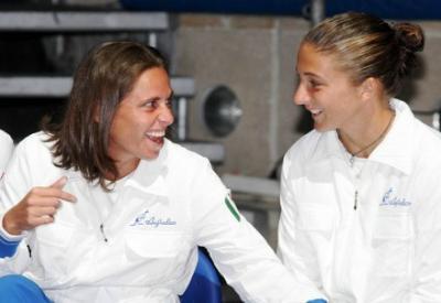 Sara Errani e Roberta Vinci, oggi giocano in doppio (Infophoto)