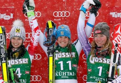 Anna Fenninger (25), Sara Hector (22), Mikaela Shiffrin (19): il podio dell'ultimo gigante stagionale (da facebook.com/fisalpine)