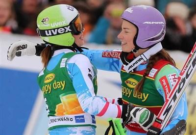 Anna Fenninger e Tina Maze, grandi protagoniste del finale di stagione (Infophoto)
