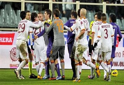 Rissa nel corso della partita di Coppa Italia (Infophoto)