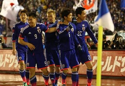 Il Giappone esulta dopo un gol
