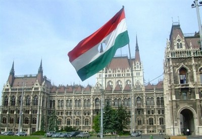 The flag of the revolution, outside the Hungarian Parliament