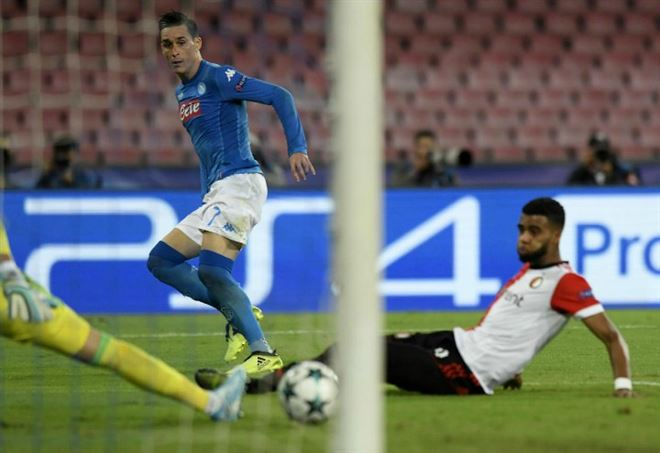 Il Napoli ha battuto il Feyenoord in Champions League (Foto LaPresse)