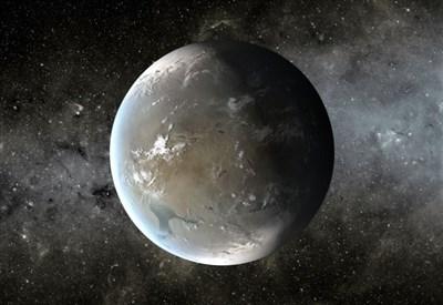 Elaborazione grafica di Kepler-62f, una superTerra a 1200 anni luce da noi, nella costellazione della Lira (credit: NASA Ames/JPL-Caltech)