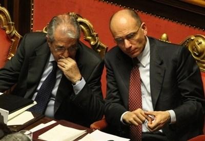 Enrico Letta e Fabrizio Saccomanni (Infophoto)