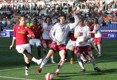 Un'immagine dell'ultimo Livorno-Roma (Infophoto)