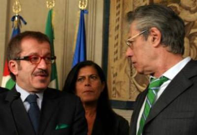 Roberto Maroni con Rosy Mauro e Umberto Bossi