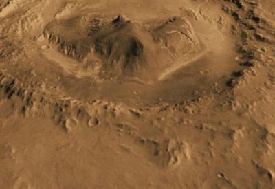 Il cratere Gale, su Marte, che verrà esplorato dal rover Curiosity (foto Nasa)