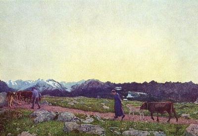 """Giovanni Segantini, """"Trittico della natura. La Natura""""  (1898-1899, olio su tela, 235x400 cm, St. Moritz, Segantini Museum)"""