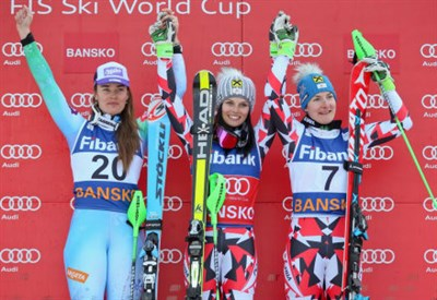Il podio della combinata di Bansko: Tina Maze, Anna Fenninger, Kathrin Zettel