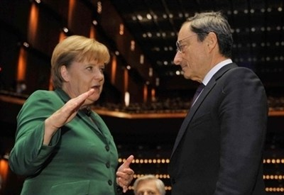 Angela Merkel e Mario Draghi (Infophoto)