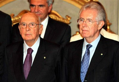 Mario Monti e Giorgio Napolitano (Infophoto)