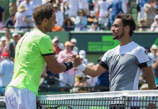 Fabio Fognini e Rafa Nadal si sfidano allo Shanghai Master 2017 (Foto LaPresse)