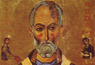 Detail of 13th century icon of Saint Nicholas in Sinai
