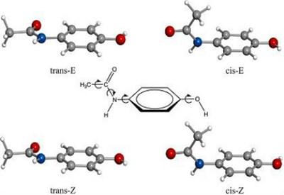 Le 4 conformazioni spaziali del il paracetamolo (al centro la formula chimica)