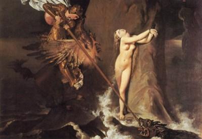 Jean A.D. Ingres, Ruggiero cavalcando l'ippogrifo, salva Angelica (1819) (Wikipedia)
