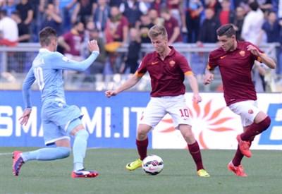 Roma-Lazio nella finale di Coppa Italia (Infophoto)