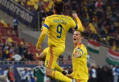 La gioia di Raul Rusescu per il gol realizzato contro l'Ungheria