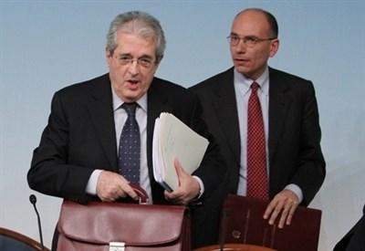 Fabrizio Saccomanni ed Enrico Letta (Infophoto)
