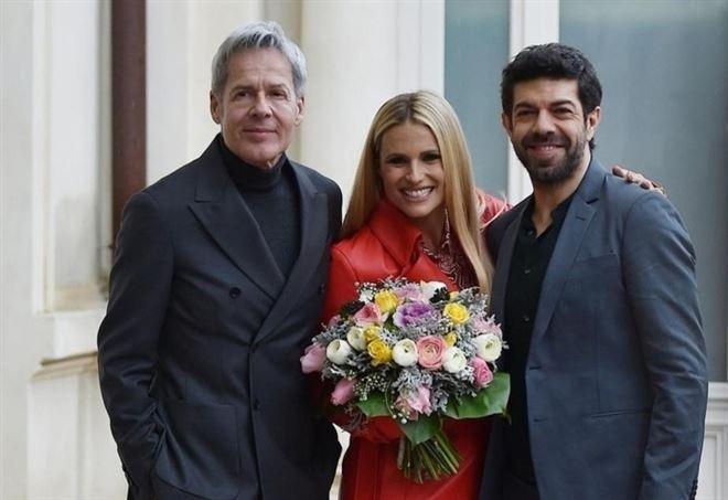 Claudio Baglioni, Michelle Hunziker e Pierfrancesco Favino (Lapresse)