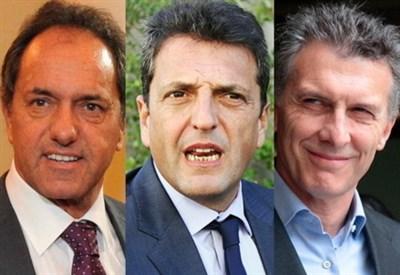 Daniel Scioli, Mauricio Macri e Sergio Massa