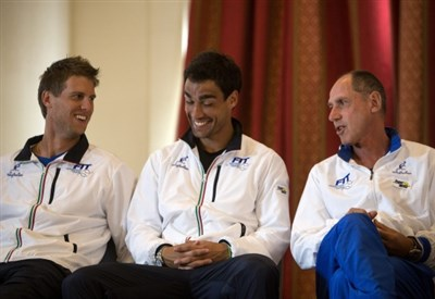 Andreas Seppi e Fabio Fognini con Corrado Barazzutti (Infophoto)