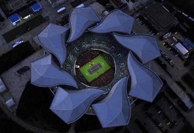 Splendida la vista dall'alto sul campo centrale di Shanghai