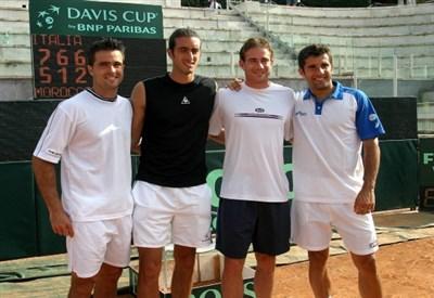 Da sinistra: Daniele Bracciali, Potito Starace, Filippo Volandri, Giorgio Galimberti (Infophoto)