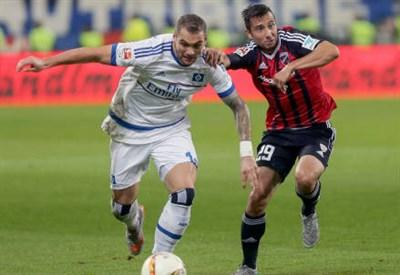 Pierre-Michel Lasogga (in maglia bianca), 22 anni, attaccante tedesco dell'Amburgo (INFOPHOTO)