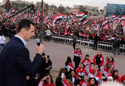Assad speaking in Damascus   (Infophoto)