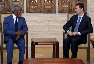 Kofi Annan e Assad, foto Infophoto