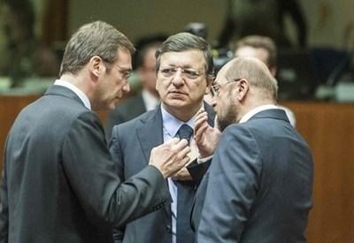 Pedro Passos Coelho, Jose M. Barroso, Martin Schulz (Infophoto)