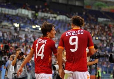 Bojan Krkic, 21 anni, e Pablo Daniel Osvaldo, 26, entrambi a segno contro lo Zaglebie Lubin (INFOPHOTO)