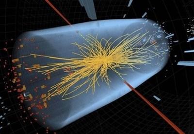 Rappresentazione grafica dell'esperimento compiuto al Cern sul bosone di Higgs (InfoPhoto)