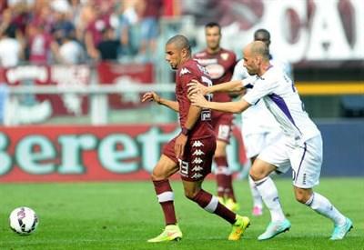 Bruno Peres, 25 anni, del Torino e Borja Valero, 30, della Fiorentina (INFOPHOTO)