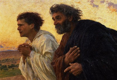 Eugène Burnand, I discepoli Pietro e Giovanni accorrono al sepolcro il mattino della Risurrezione (1898) (Immagine d'archivio)