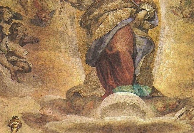 Cappella Paolina in S. Maria Maggiore a Roma, particolare della luna galileiana (1610-12)